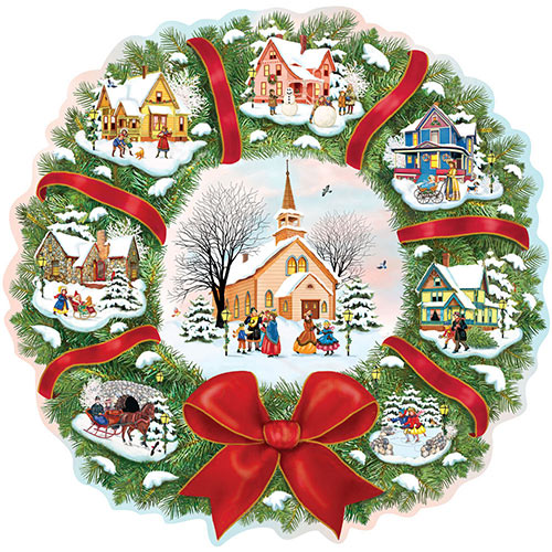 Christmas Village Wreath 300 Large Piece Shaped Jigsaw Puzzle