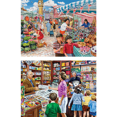 Set of 2: Trevor Mitchell 300 Large Piece Shopping Jigsaw Puzzles