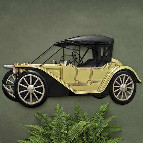 Black & Yellow Old Time Car Wall Art