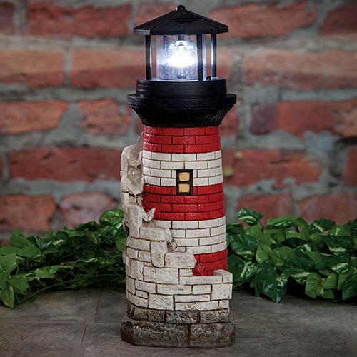 Lighthouse Fountain with Solar Spinning Beacon