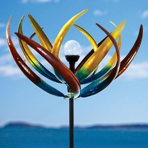 Solar Multi-Colour Tulip Wind Spinner