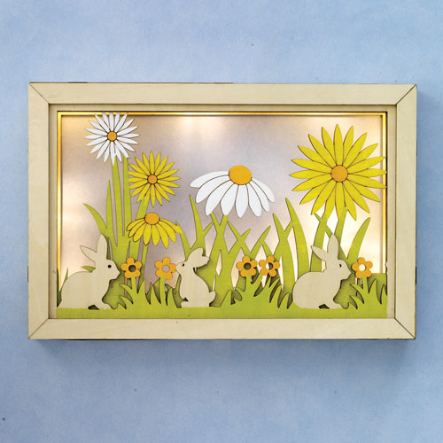 Bunnies And Daisies LED Shadow Box