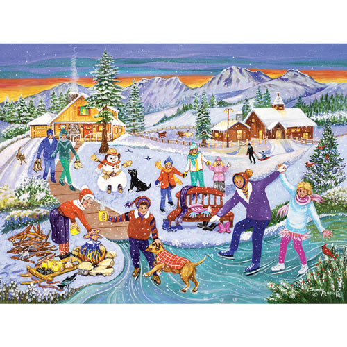 Family Skating Time 300 Large Piece Jigsaw Puzzle