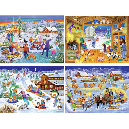Set of 4: Sandy Rusinko 300 Large Piece Jigsaw Puzzles