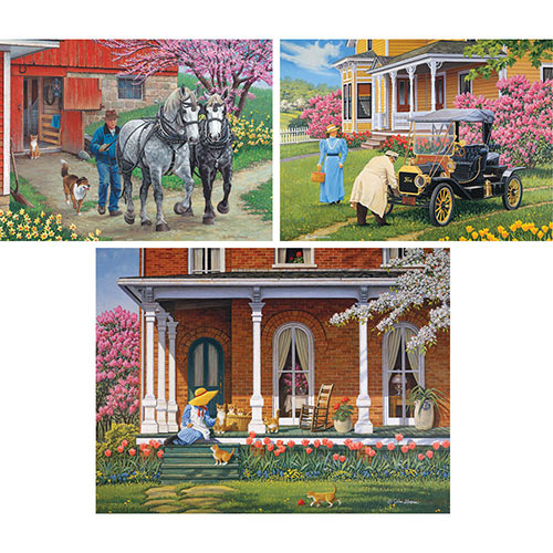 Set of 3: Pre-Boxed John Sloane 300 Large Piece Jigsaw Puzzles