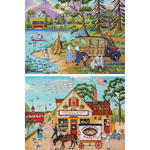Set of 2: Pre-Boxed Joseph Holodook 1000 Piece Jigsaw Puzzles