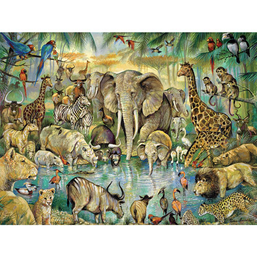 African Watering Hole 300 Large Piece Jigsaw Puzzle