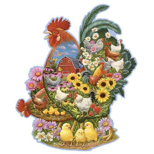 Rooster Barnyard 300 Large Piece Shaped Jigsaw Puzzle