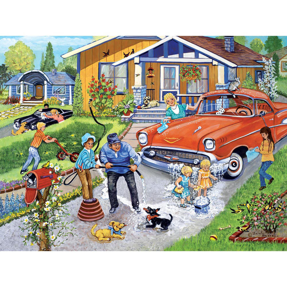 Family Car Wash 500 Piece Jigsaw Puzzle Bits And Pieces Uk