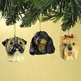 Brown Pug Christmas Ornaments