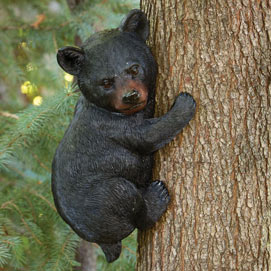 Bear Cub Up A Tree Sculpture