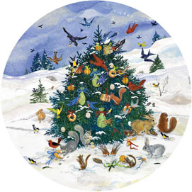 Little Creature's Christmas 300 Large Piece Round Jigsaw Puzzle