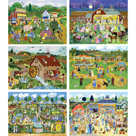 Set of 6 : Country Charm 500 Piece Jigsaw Puzzles