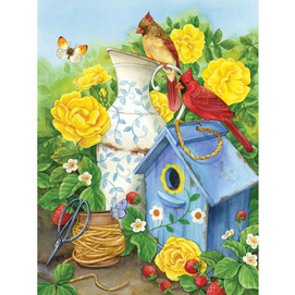 Cardinals And Yellow Roses 300 Large Piece Jigsaw Puzzle