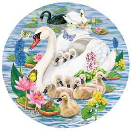 Swans And Cygnets 1000 Piece Round Jigsaw Puzzle