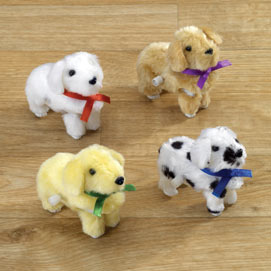 Set of 4: Wind-up Plush Puppies