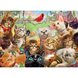 Kittens And Cardinal 500 Piece Giant Jigsaw Puzzle