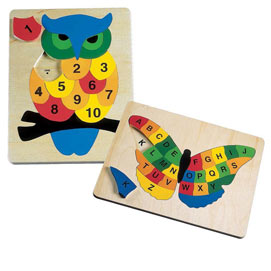Set of 2: Counting Owl & Alphabet Butterfly Wooden Puzzles