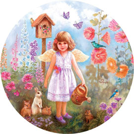 Gardening Angel 300 Large Piece Round Jigsaw Puzzle