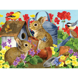Bunnies & Birdhouse 300 Large Piece Jigsaw Puzzle
