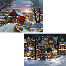 Set of 2:  Hargrove Christmas Joy 1000 Piece Jigsaw Puzzles