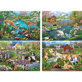 Set of 4: Mary Thompson 1000 Piece Jigsaw Puzzles