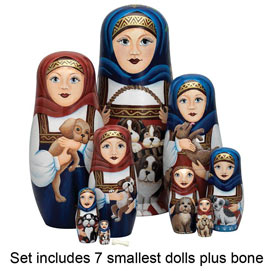 Set of Smallest 8 Dolls : Nesting Dog Ladies