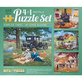 Simpler Times 4-in-1 500 Piece John Sloane Jigsaw Puzzle Set