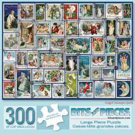 Angel Stamps Quilt 300 Large Piece Jigsaw Puzzle