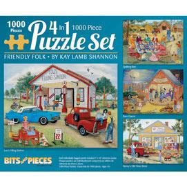 Friendly Folk 4-in-1 Multi-Pack 1000 Piece Puzzle Set