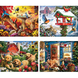Country Living 4-in-1 Multi-Pack 1000 Piece Puzzle Set