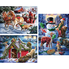 Set of 3: Larry Jones Holiday Fun 1000 Piece Jigsaw Puzzles