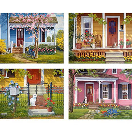 Set of 4 : A Warm Welcome John Sloane 500 Piece Jigsaw Puzzles