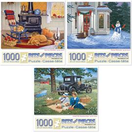 Set of 3 Pre-Boxed: John Sloane 1000 Piece Jigsaw Puzzles