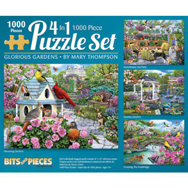 Glorious Gardens 4-in-1 Multi-Pack 1000 Piece Puzzle Set