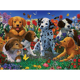 Puppy Garden 300 Large Piece Jigsaw Puzzle