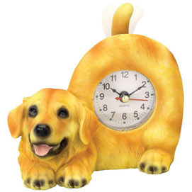 Tail Wagging Golden Retriever Clock