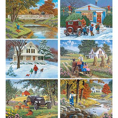 Set of 6: John Sloane 300 Large Piece Jigsaw Puzzles