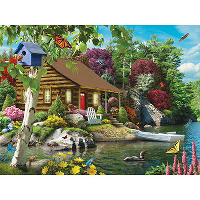 Cabin On The Lake 300 Large Piece Jigsaw Puzzle