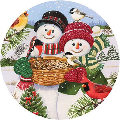 Snow Couple Feeding The Birds 1000 Piece Round Jigsaw Puzzle