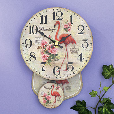 Antique Style Flamingo Pendulum Wall Clock