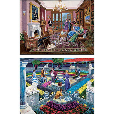 Set Of 2: Murder Mystery Story 1000 Piece Jigsaw Puzzles