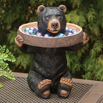 Bear Holding Tray Birdbath Garden Sculpture