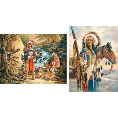 Set of 2: Native American 300 Large Piece Jigsaw Puzzles