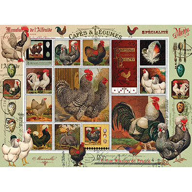 Fancy Rooster Quilt 1000 Piece Jigsaw Puzzle