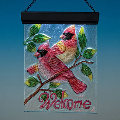 Glass Cardinal Solar Welcome Plaque