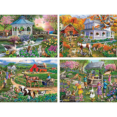 Set of 4 : Mary Thompson 1000 Piece Jigsaw Puzzles