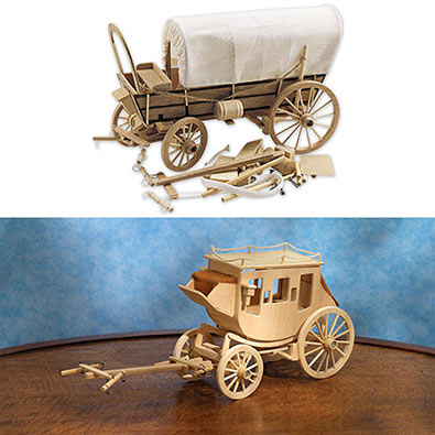 Set of 2: Covered Wagon and Western Stagecoach