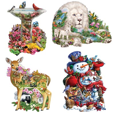 Set of 4 : 750 Piece Shaped Jigsaw Puzzles