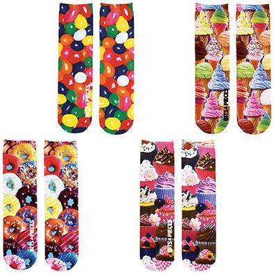 Set of 4: Sweet Treats Printed Crew Socks